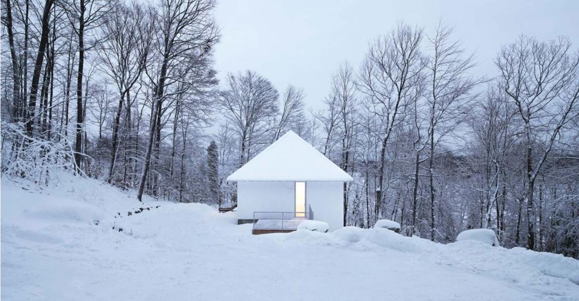 cabañas camufladas en las montañas nevadas de Canadá 52