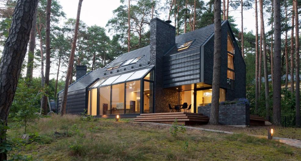 casas negras elegantes en el bosque y rodeadas de la música de la naturaleza 36